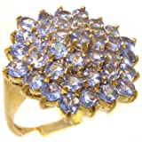 14k Yellow Gold Natural Tanzanite Womens Cluster Ring - Sizes 4 to 12 Available