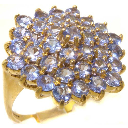 LetsBuyGold 14k Yellow Gold Natural Tanzanite Womens Cluster Ring – Sizes 4 to 12 Available