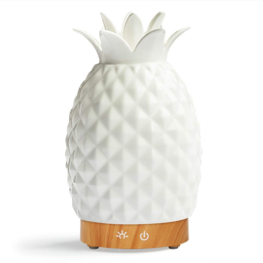 Essential Oil Diffuser -160ml Cool Mist Humidifiers -7 Color LED Night Lamps -Crafts Ornaments All in 1 is The Round Rich Upgrade Whisper-Quiet Ultrasonic Ceramics Pineapple Humidifiers US120V