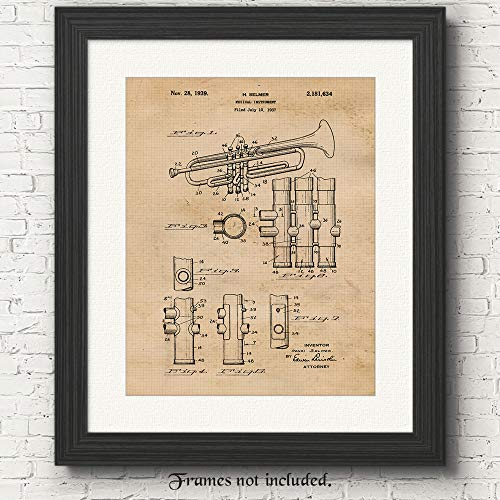 Original Trumpet Instrument Patent Poster Print - Set of 1 (One 11x14) Unframed Picture - Great Wall Art Decor Gift for Home, Office, Studio, Man Cave, School Band, Student, Musician, Producer
