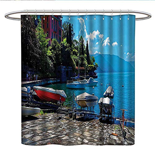 Anshesix Coastal Decorcloth Shower CurtainItalian Harbor In Verena With Fishing And Sail Boats European Sea Town