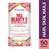 elastin Reserveage - Tres Beauty 3, Beauty Building Support Youthfully Soft and Supple Skin, Helps Strengthen and Add Shine to Hair and Nails with Collagen, Keratin, and Elastin, Gluten Free, 90 Capsules