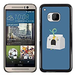 Paccase / Hard Protective Case Cover - Milk Character Minimalist Blue - HTC One M9