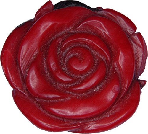 Red Coral Carved Rose Pendant 18mm Carved Red Coral Rose Pendant