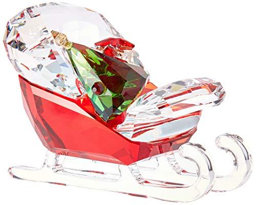 (Swarovski Santa's Sleigh Christmas Holiday Figurine, Red/Green/Clear Crystal - 5403203)