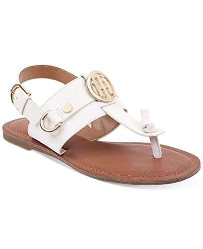 139ebf4aa Amazon.com | Tommy Hilfiger Womens Luvee Split Toe Casual T-Strap Sandals,  White Ll, Size 6.0 | Flats