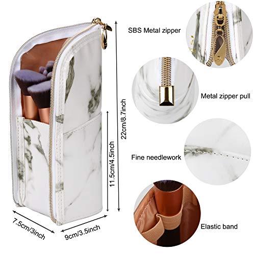Marble Makeup Brush Holder Makeup Brush Case Organizer Travel Makeup Brush Pouch Stand-up Foldable Portable Makeup Artist Storage Bag for Women