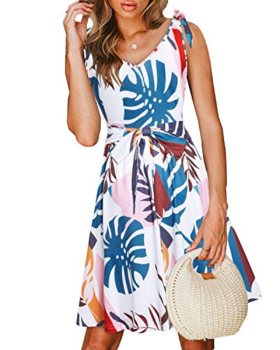 VOTEPRETTY Women's Casual Summer Beach Sleeveless V Neck Tie Floral Dress with Pockets (Floral04,XL]()