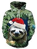 RAISEVERN Unisex Ugly Christmas Sloth Print Hip Hop Lightweight Animal Pullover Hoodie Sweatshirt for Teen Junior XL