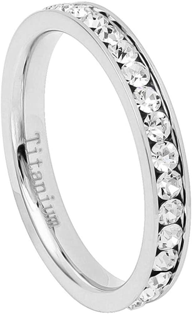 CloseoutWarehouse Clear Cubic Zirconia Channel Set Eternity Ring White Yellow or Rose Gold-Tone Titanium