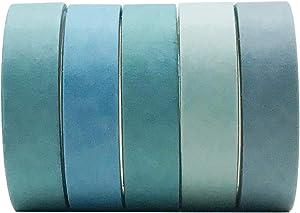 5 Rolls Vintage Blue Washi Tape Set, EnYan Japanese Masking Decorative Tapes for DIY Crafts and Arts Bullet Journal Planners Scrapbooking Adhesive