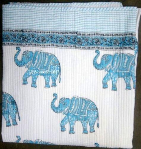 インド象印刷リバーシブルコットンKanthaベッドカバーベッドスプレッドThrow Gudari B078YM7RNY
