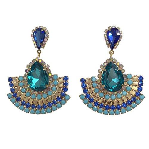Multi Color Double Teardrop Scoop Post Dangle Bohemian Style Earrings (Blue Tones)