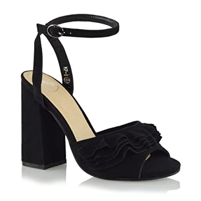 f48dd9884fbd Amazon.com | ESSEX GLAM Womens Block Heels Ankle Strap Ruffle Faux Suede  Peep Toe Frill Sandals | Sandals