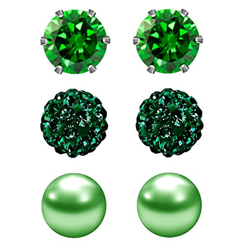 JewelrieShop 3 Pairs Stud Earrings Set for women girls Cubic Zirconia Rhinestones Faux Pearl, Birthstone, Hypoallergenic, Stainless Steel Earrings Pin - Green (May.) - Green Stud Earring Box