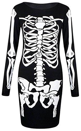 LUSH LANE Womens Long Sleeves Skeleton Print Halloween Bodycon Dress ()