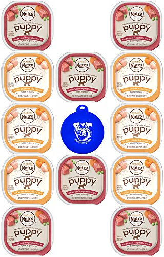 Nutro Puppy Wet Dog Food in 2 Flavors: (6) Tender Beef & Vegetable Bites in Gravy and (6) Tender Chicken & Rice Bites in Gravy (3.5 Oz Each, 12 Trays Total) Plus Silicone Pet Food Lid - 13 Items Total
