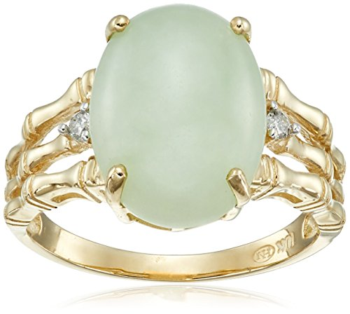 10k Yellow Gold Oval Green Jade and Diamond Accent Ring, Size 7