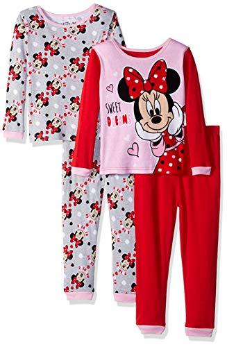 Disney Girls' Toddler Minnie Mouse 4-Piece Cotton Pajama Set, Dreamy Sweetness, 4T