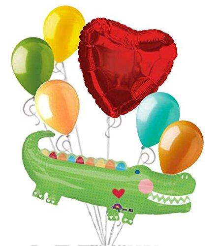 7 pc Polka Dot Alligator Happy Birthday Boy Balloon Bouquet Safari Jungle (Alligator Decorations)