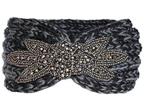 KMystic Crochet Jewel Winter Headband Ear Warmer (Two Tone Black)