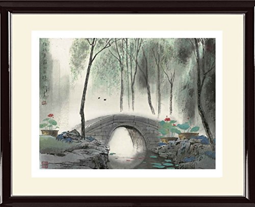Framed Prints Oriental Willow Tree Painting Lotus Flower Artwork