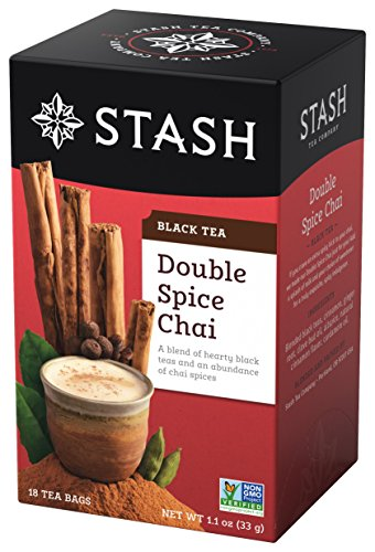 Stash Tea Double Spice Chai Black Tea, 100 Count Box of Tea Bags Individually Wrapped in Foil (packaging may vary), Premium Black Tea Blended with Invigorating, Warming Spices, Drink Hot or Iced