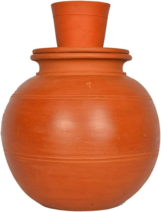 clay water pot buy online Village Decor Handmade Earthen Clay Water Pot with lid - Carafes Pitcher -  (2 Gallon)