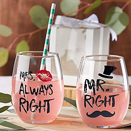 Mr Right Vino Pareja Gafas 14 oz Cristal sin tallo Copa de vino Juego de tazas, Taza de boda para los novios para pareja Aniversario, Compromiso, Navidad Día de San Valentín