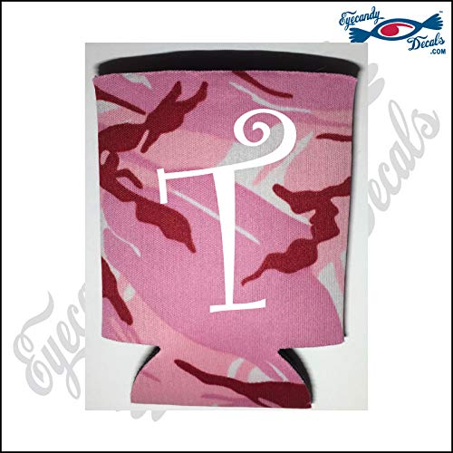 Eyecandy Decals T - Monogram Letter White on a Pink CAMO Pocket FOLD CAN Cooler