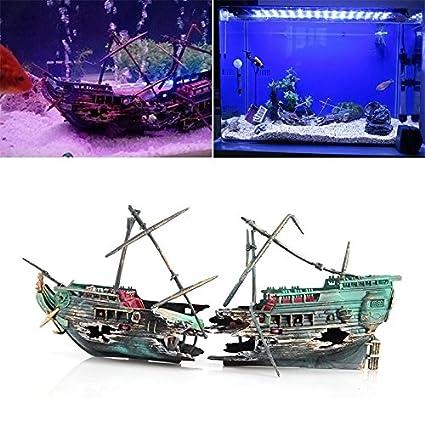 lzndeal coulé pecio barco Acuario Adorno barco de vela barco triturador Air Split hundimiento Depósito de