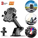 Car Phone Mount Universal Phone Holder 360 Degree Rotating Long Arm Phone Cradle for Car Air Vent Dashboard Windshield Compatible with Cell Phone 4-6 Inches