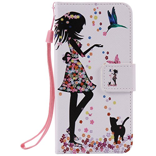 Ostop Colorful Painted Leather Wallet Case for iPhone 8,iPhone 7 Case,[Kickstand Feature] Flower Girl Printed White PU Magnetic Flip Cover with Card Slots Wrist Strap Shockproof Shell ()