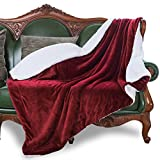 HoroM Sherpa Throw Blanket Wine Red 50