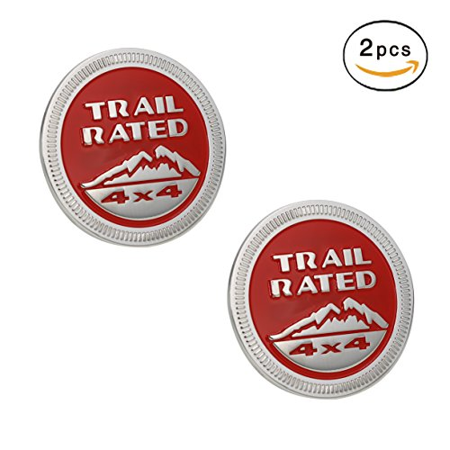VXAR Jeep Trail Rated 4×4 Trunk Tailgate Fender Emblem Badge LOGO for Jeep Wrangler 2007-2017 (Red 2pcs)