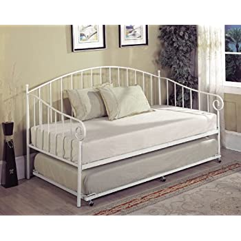 Kings Brand White Metal Twin Size Day Bed Daybed Frame With Slats