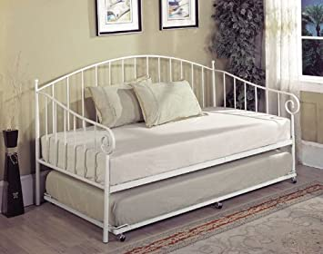 kings brand white metal twin size day bed daybed frame with metal slats