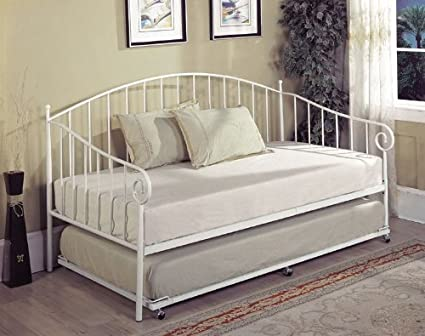 Amazon Com Kings Brand White Metal Twin Size Day Bed Daybed Frame