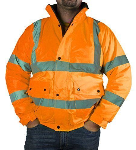Hi Vis Bomber Jacket | ULTRA HIGH VISIBILITY - CLASS 3 | Hi Viz Yellow & Orange Work Safety Jackets | HQ Fleeced Collar Lining (X-Large, 2 - Orange) by PST