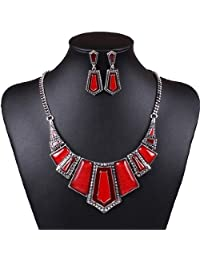 Winson Womoen Red Irregular Geometry Collar Bib Necklace Earrings Jewelry Set