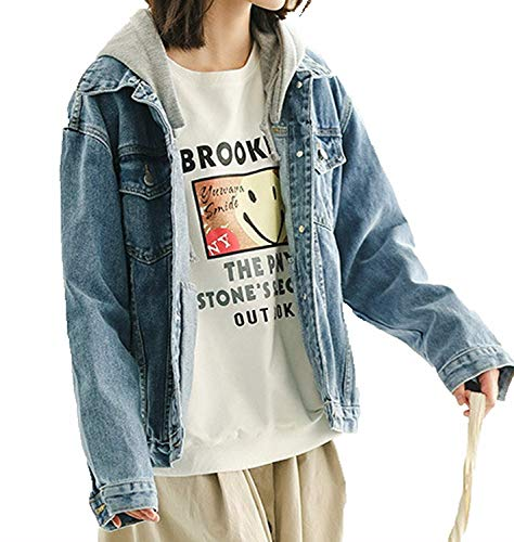 Marca Giacca Jeans Manica Cappotto Di Donna Mode Giacche Vintage Autunno Outerwear Lunga Mit Kapuze Jacket Bolawoo Blu Baggy Primaverile Tunnelzug Giubbino YzqUUxE
