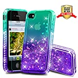 iPhone 4 Case, iPhone 4S Case, Atump Diamond Glitter Flowing Liquid Floating Protective Shockproof Clear TPU Girls Case for Apple iPhone 4/4S Green/Purple