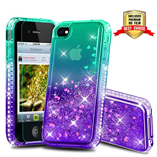 iPhone 4 Case, iPhone 4S Case, Atump Diamond Glitter Flowing Liquid Floating Protective Shockproof Clear TPU Girls Case for Apple iPhone 4/4S Green/Purple (Light Green Iphone 4s Case)