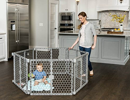 - Regalo Versatile Play Space 192-Inch Plastic Super Wide Portable Baby Gate and Play Yard, 4-In-1, Bonus Kit, Includes 4 Pack of Wall Mounts, Indoor and Outdoor Play Space, Cool Gray