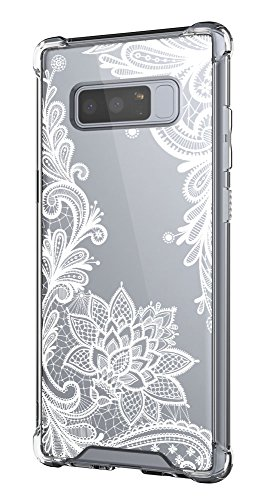 Cutebe Shockproof Hard PC+ TPU Bumper Case Scratch-Resistant Cover for Samsung Galaxy Note 8 2017 Release (Lace Flower(Crystal))