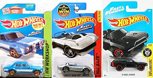 FAST & FURIOUS Hot Wheels 2017 Experimotors '70 Dodge Charger New Model + Corvette Grand Roadster & '70 Ford Escort RS1600 New Model - Roadster Dodge
