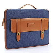 DOMISO 15.6 Inch Laptop Sleeve Polyester Fabric Computer Handbag Tablet Pouch Cover with Catch & Zipper Notebook for Lenovo / HP / Acer / ASUS / DELL , Blue