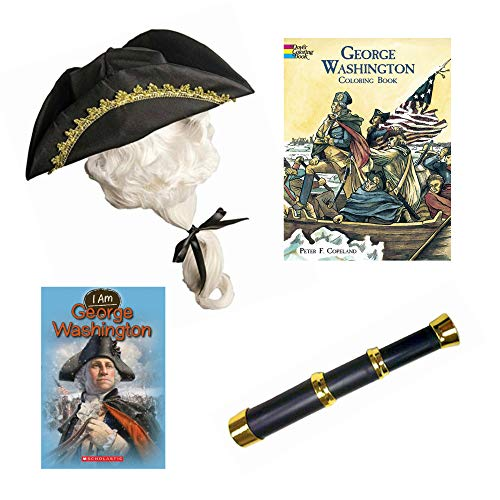 George Washington Revolutionary War Fun History Kit for Kids Pretend Play Costume Roleplay Set -