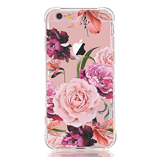 LUOLNH iPhone 6 6s Case with flowers, Slim Shockproof Clear Floral Pattern Soft Flexible TPU Back Cover [4.7 inch] -Purple Rose