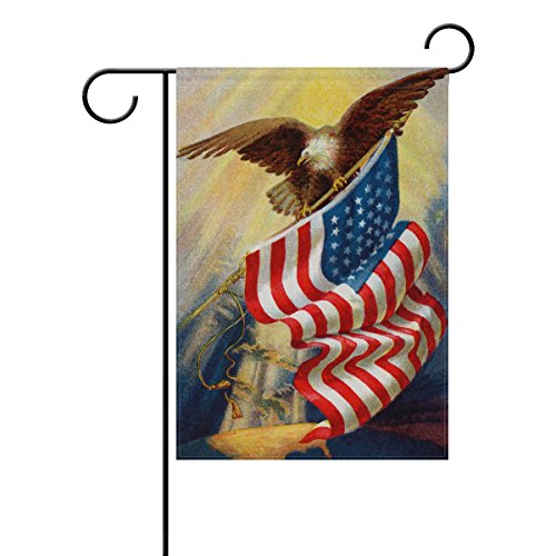 ALAZA Garden Flag Yard Decoration, Celebrating American Flag Vintage Bald Eagle Memorial Day Independence Day USA Flag Double-sided Polyester House Banner for Home Outdoor Anniversary Decor, 28